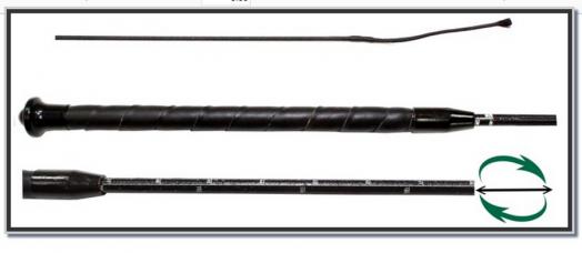 Хлыст выездка 103-123 см. HORSE COMFORT. Кожаная ручка. Телескопический.